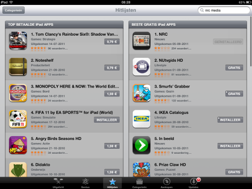 NRC iPhone / iPad app on Number 1 in the App Store